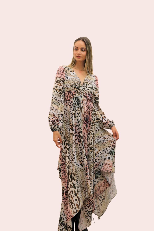 Amelia New York Handkerchief Long Sleeve Animal Print Dress