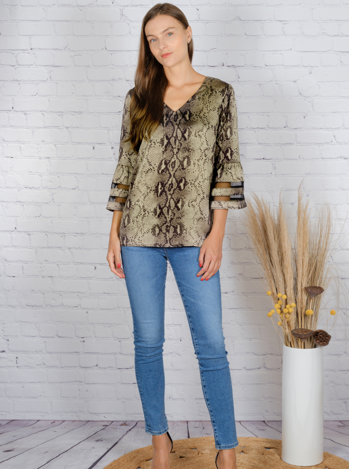 Wonder Blossom Night Out Top With Mesh Insert At Sleeve