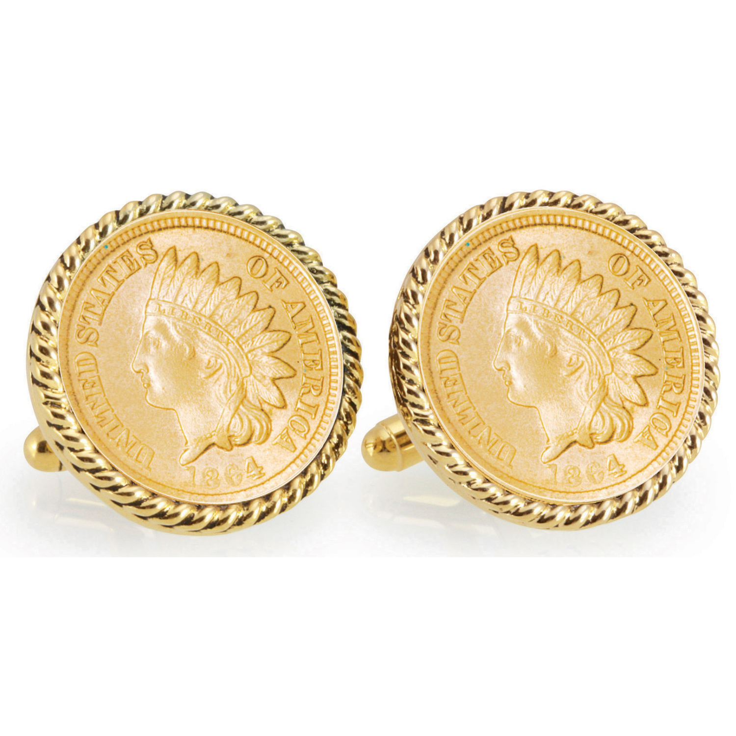 Gold-Layered Civil War Indian Head Penny Goldtone Rope Bezel Coin Cufflinks