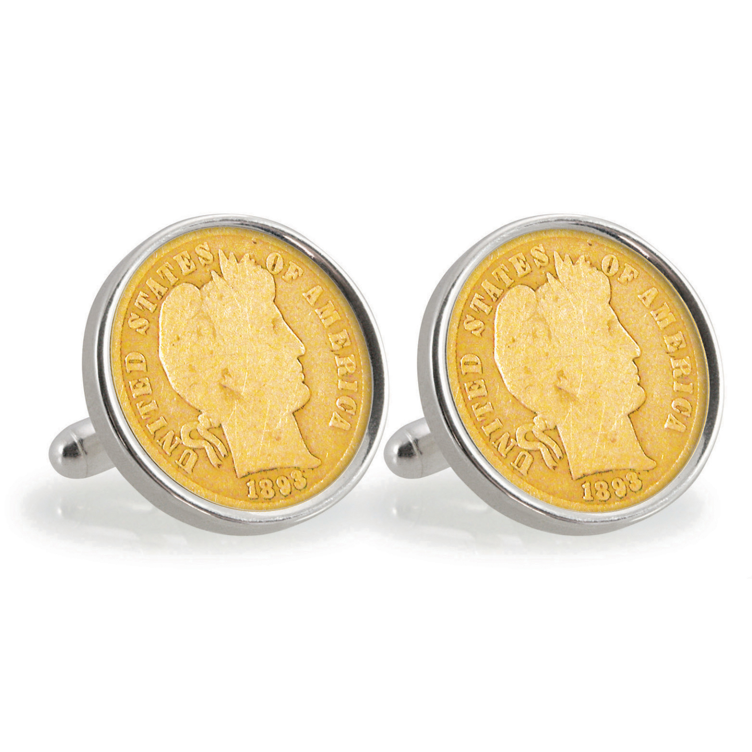 Gold-Layered 1800'S Silver Barber Dime Sterling Silver Coin Cuff Links