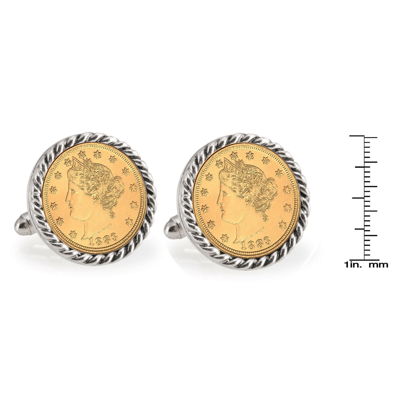 Gold-Layered Liberty Nickel Silvertone Rope Bezel Coin Cufflinks