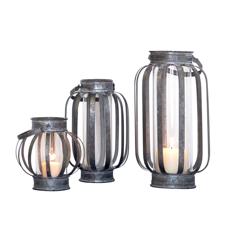 Galvanized Banded Lantern Large