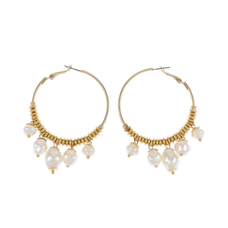 Carol Dauplaise Pearl Hoop Earring