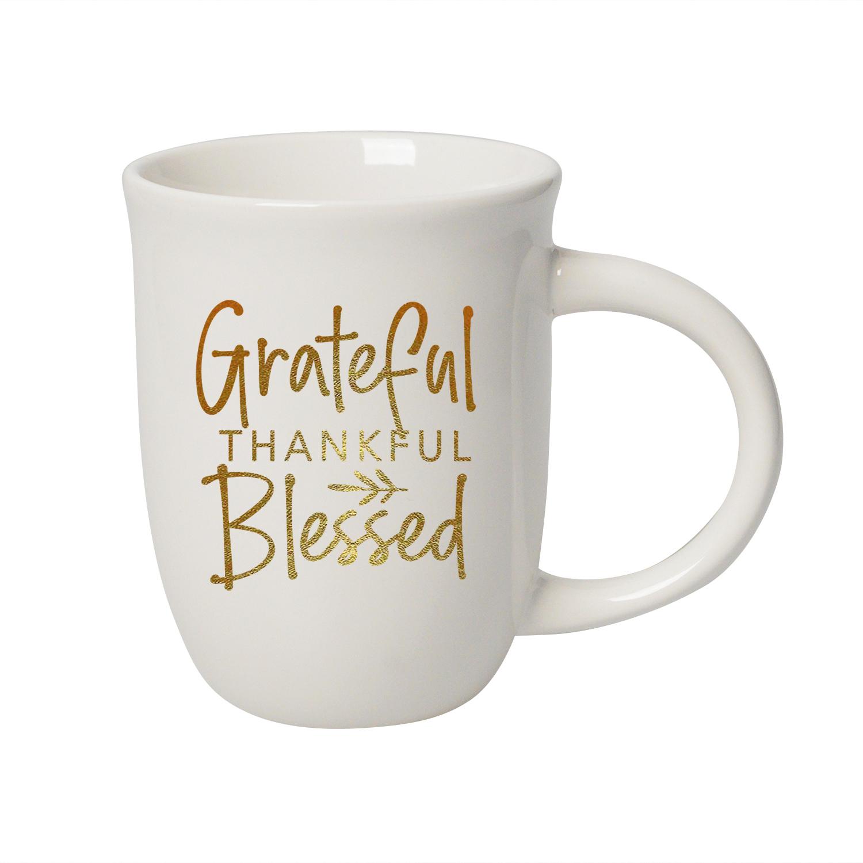 Grateful Thankful Blessed 14 Ounce Designer Ceramic Mug