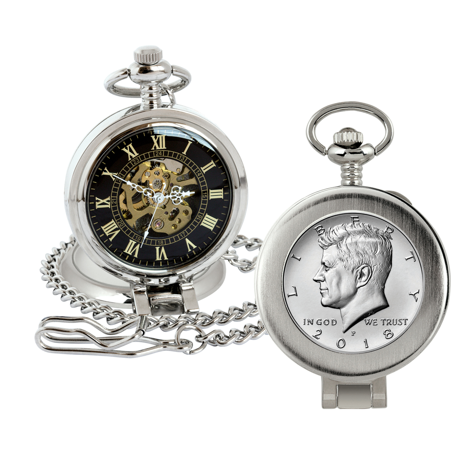 Jfk Half Dollar Coin Pocket Watch With Skeleton Movement - Magnifying Glass - Black Dial With Gold Roman Numerals