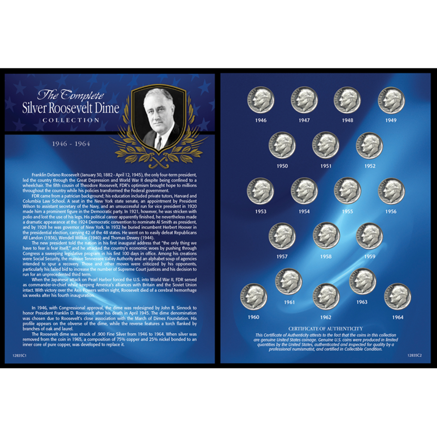 Complete Silver Roosevelt Dime Collection 1946-1964