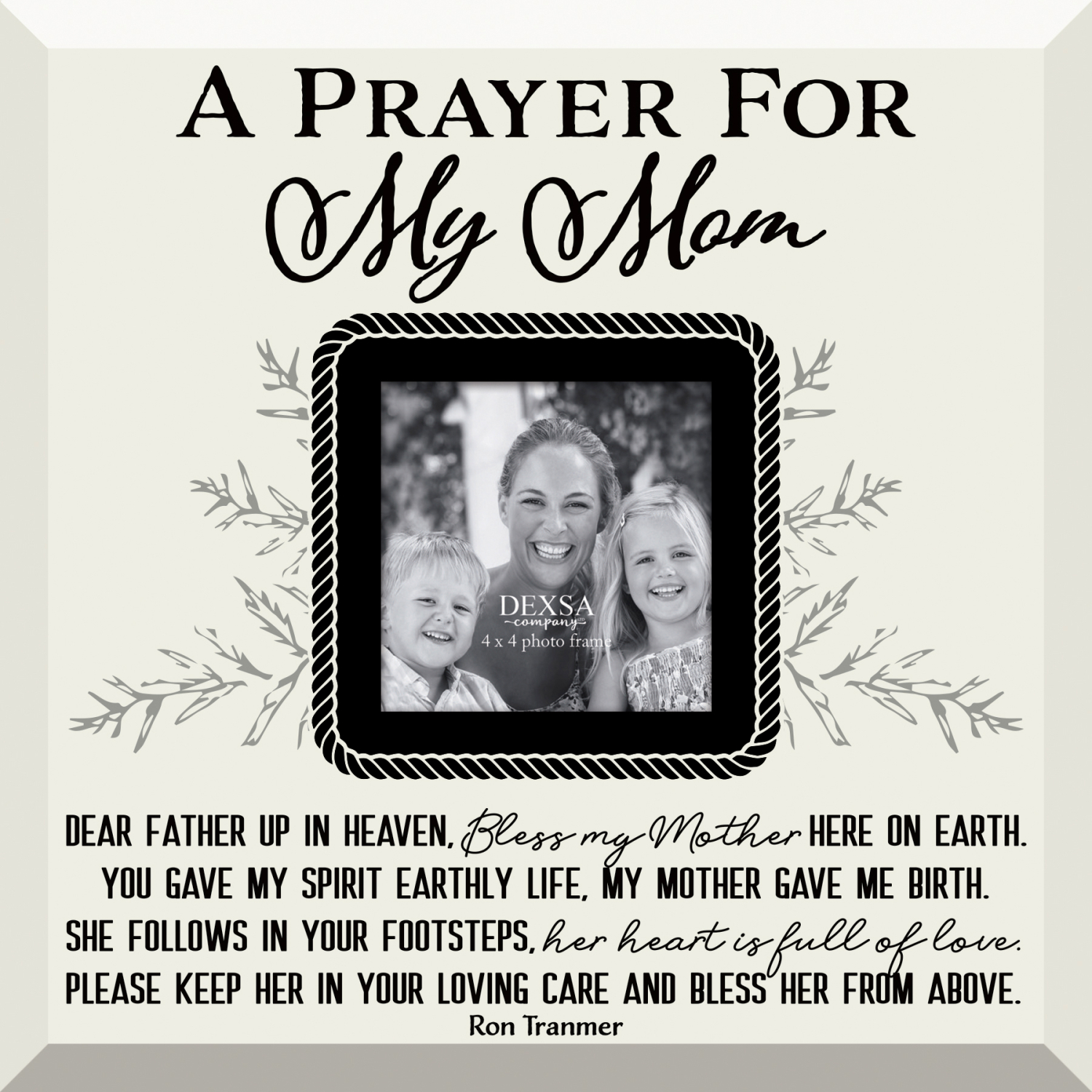 Prayer For My Mom Glass Photo Frame With Easel 12