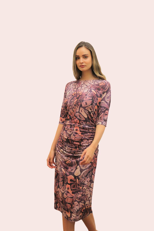 Amelia New York Ruched Printed Plum Dress