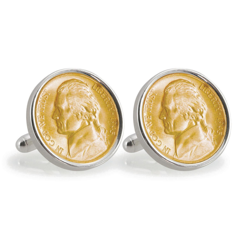 Gold-Layered Silver Jefferson Nickel Wartime Nickel Sterling Silver Coin Cufflinks