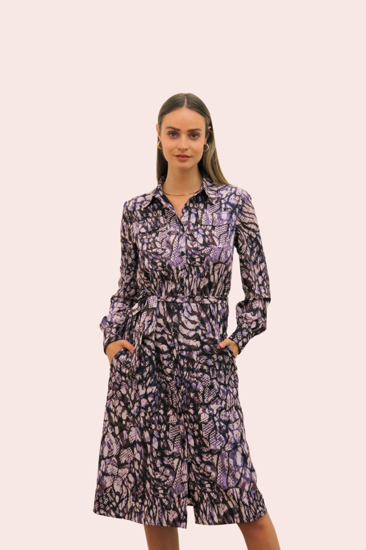 Amelia New York Purple Mist Tie Shirt Dress