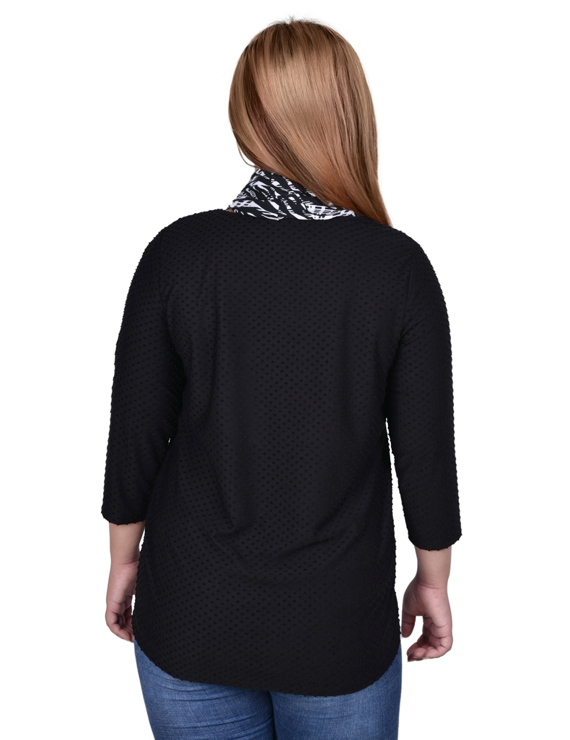 3/4 Sleeve Textured Knit Pullover With Scarf