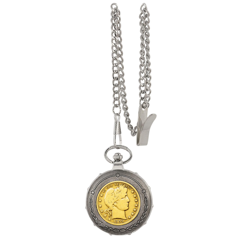 Gold-Layered Silver Barber Half Dollar Silvertone Train Coin Pocket Watch