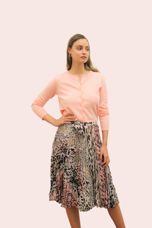 Amelia New York Pleated Animal Instincts Print Skirt