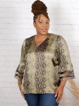 Wonder Blossom Animal Print Top With Mesh Insert At Sleeve - 2