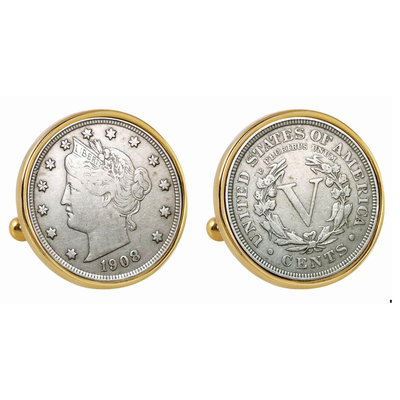 Liberty Nickel Gold Tone Bezel Coin Cufflinks
