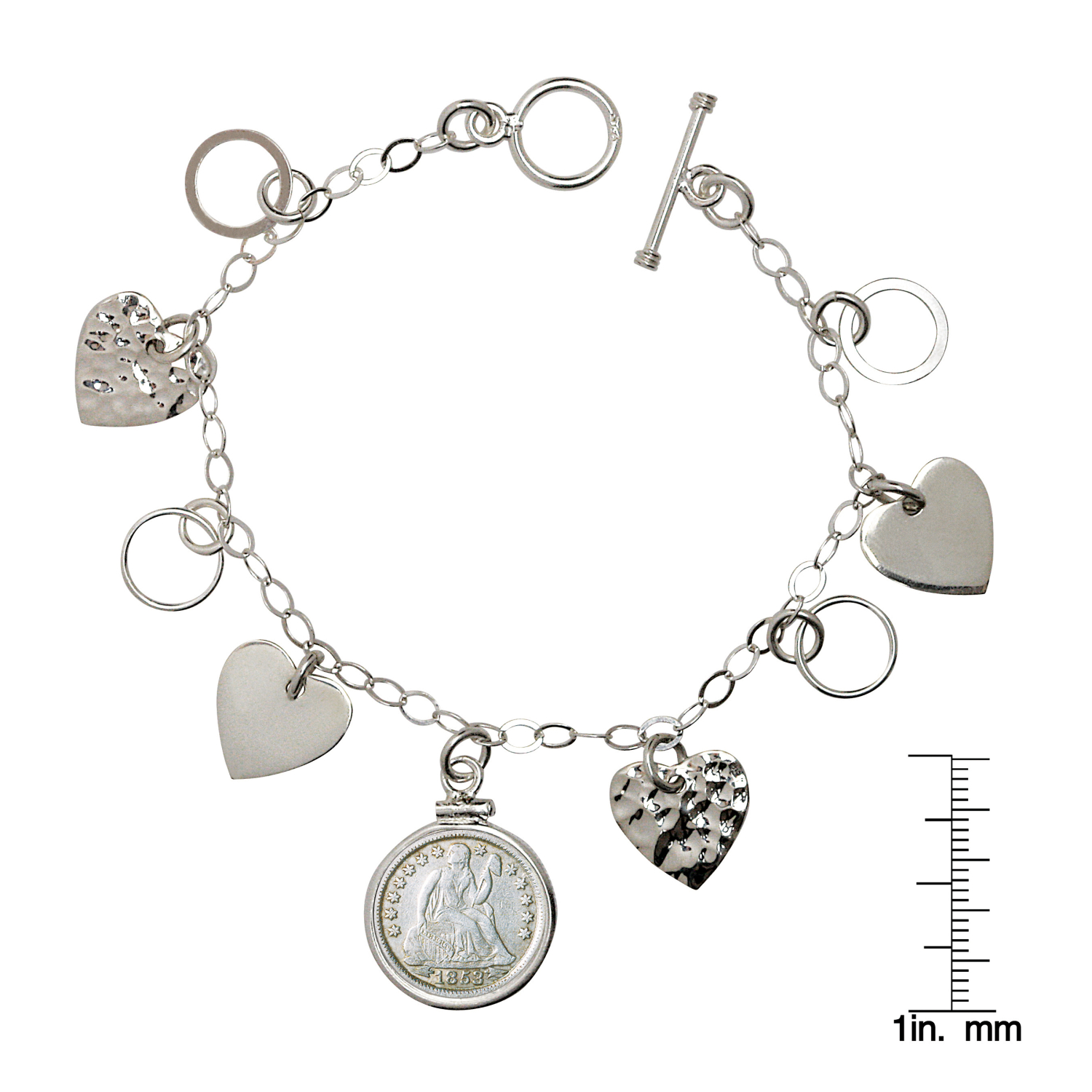 Heart Charm Sterling Silver Coin Bracelet With Silver Seated Liberty Dime