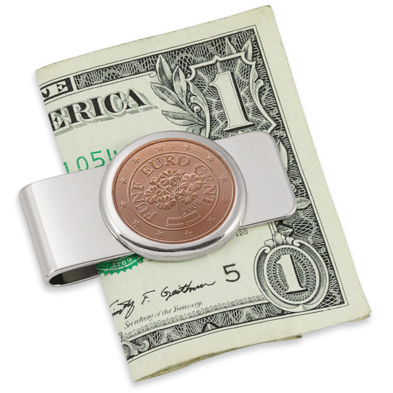 Austrian Primrose Five Cent Euro Coin Silvertone Coin Money Clip