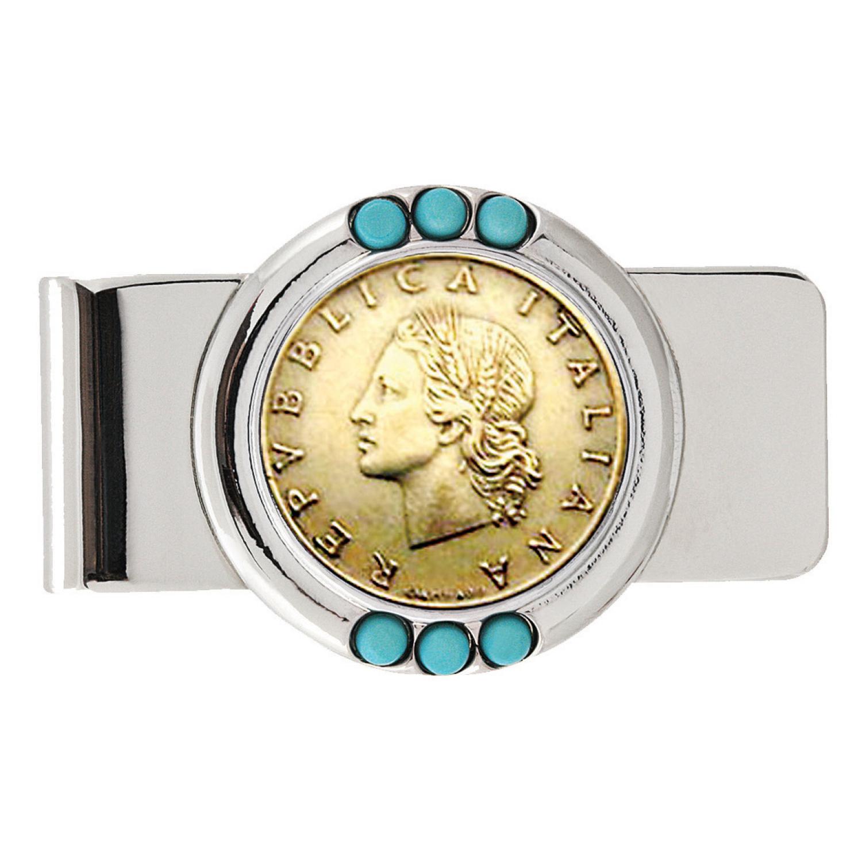 Italian Republic Coin Turquoise Beaded Money Clip