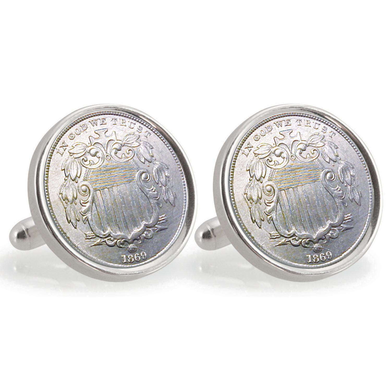 University Of Nebraska 1869 Sterling Silver Nickel Coin Cufflinks