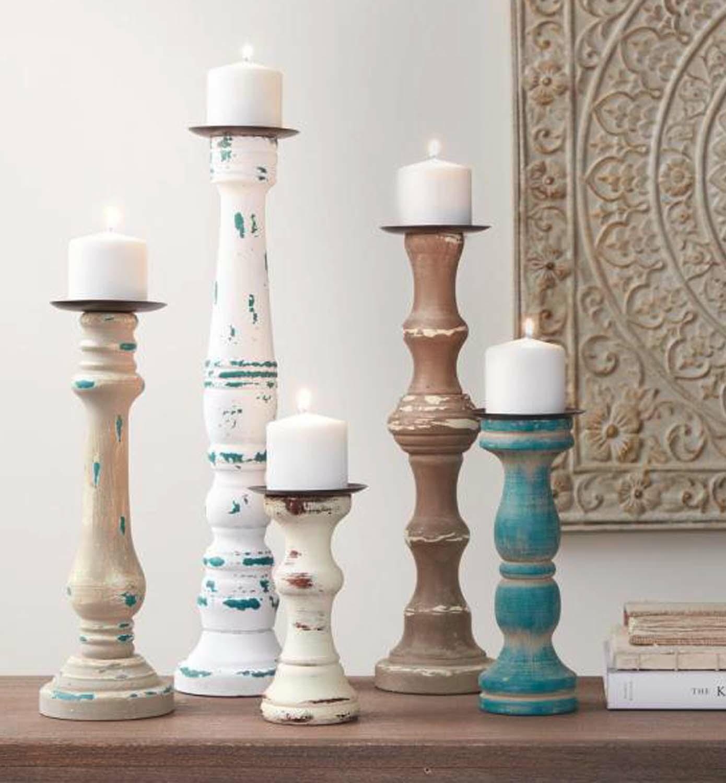 Wood Candle Sticks/Set Of 5