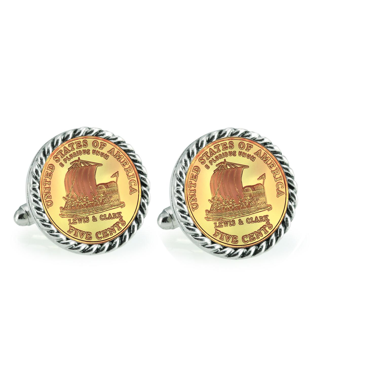Gold-Layered 2004 Keelboat Silvertone Rope Bezel Coin Cufflinks
