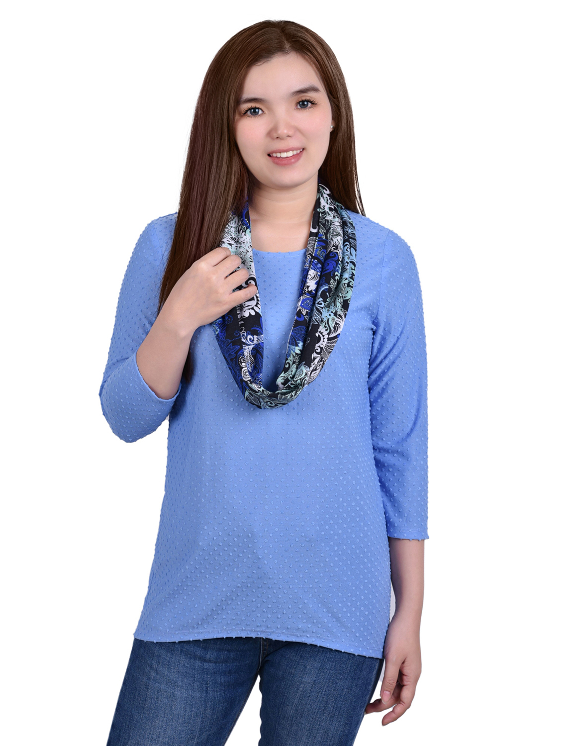 3/4 Sleeve Textured Knit Pullover With Scarf - Petite