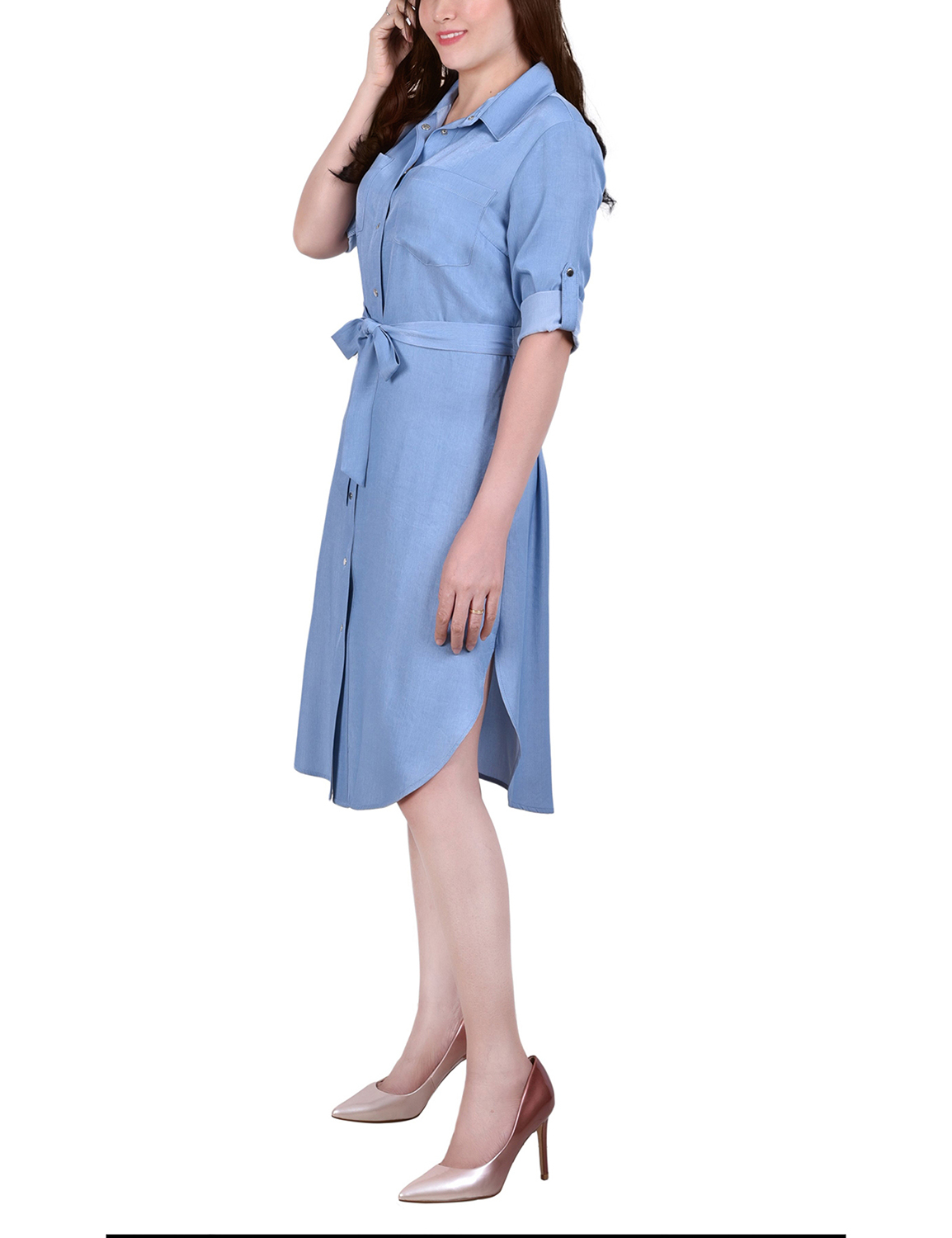 Ny Collection 3/4 Roll Tab Sleeve Chambray Dress