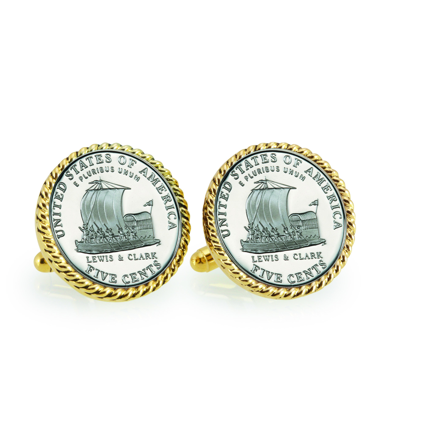 2004 Keelboat Goldtone Rope Bezel Coin Cuff Links