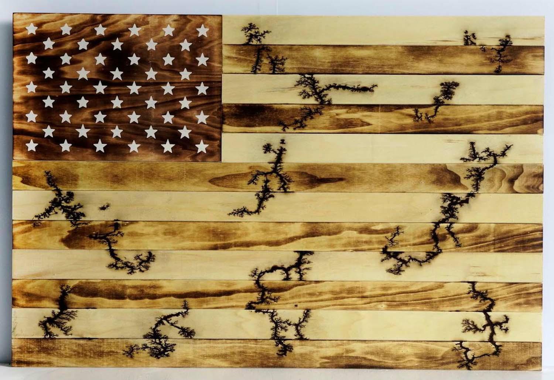 Lichtenberg Wood Burning American Flag Wall Art