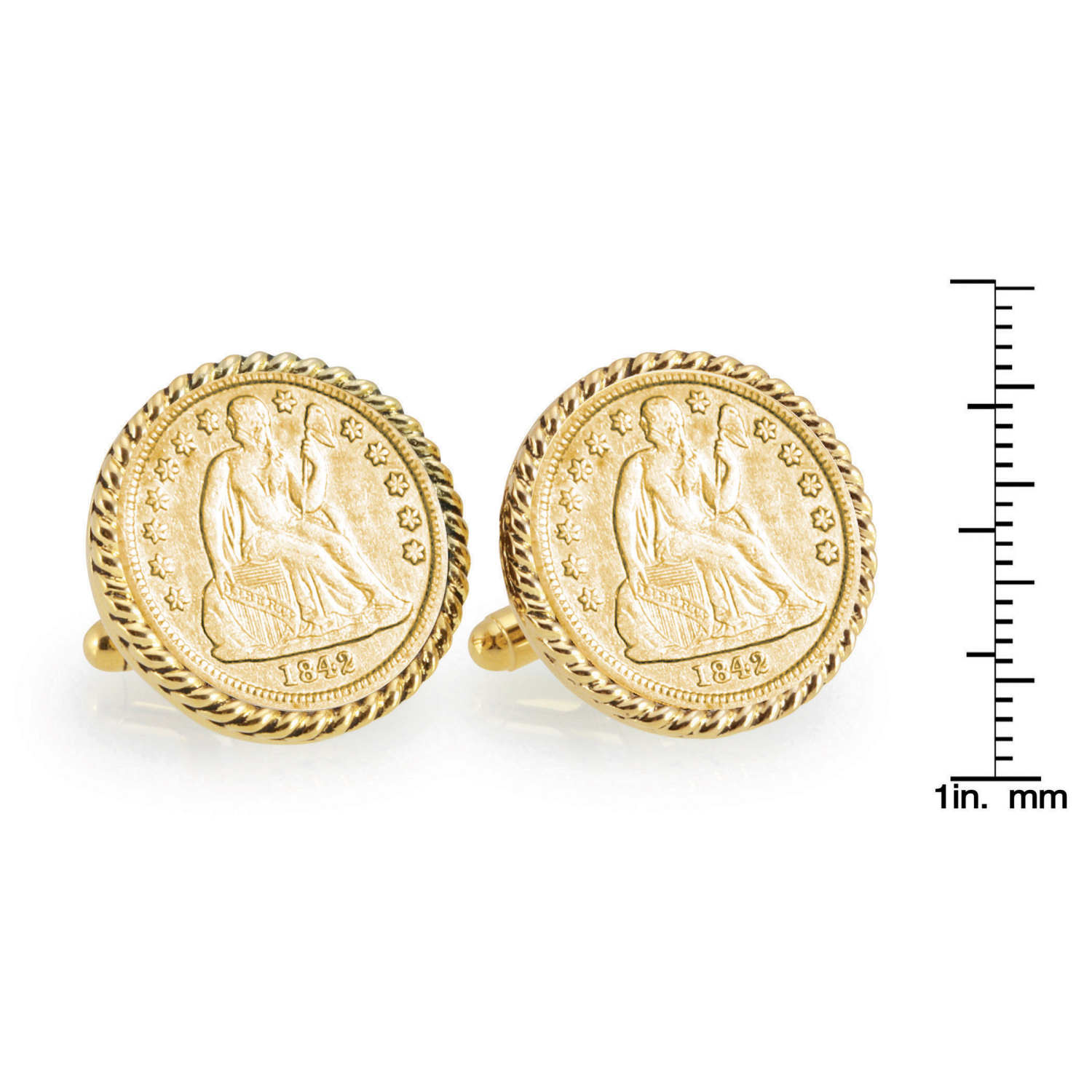Gold-Layered Seated Liberty Silver Dime Gold Tone Rope Bezel Coin Cufflinks
