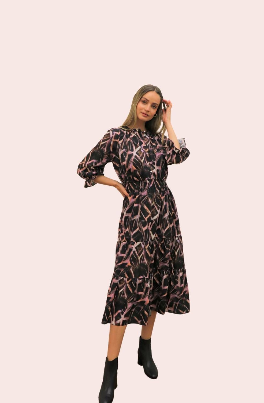 Amelia New York Mauve Quartz Pring Long Sleeve Dress