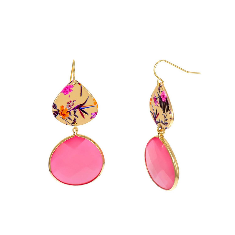 Carol Dauplaise Double drop pink Earring