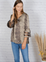 Wonder Blossom Animal Top With Mesh Insert At Sleeve - Back