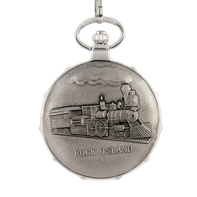 Gold-Layered Silver Franklin Half Dollar Silvertone Train Coin Pocket Watch
