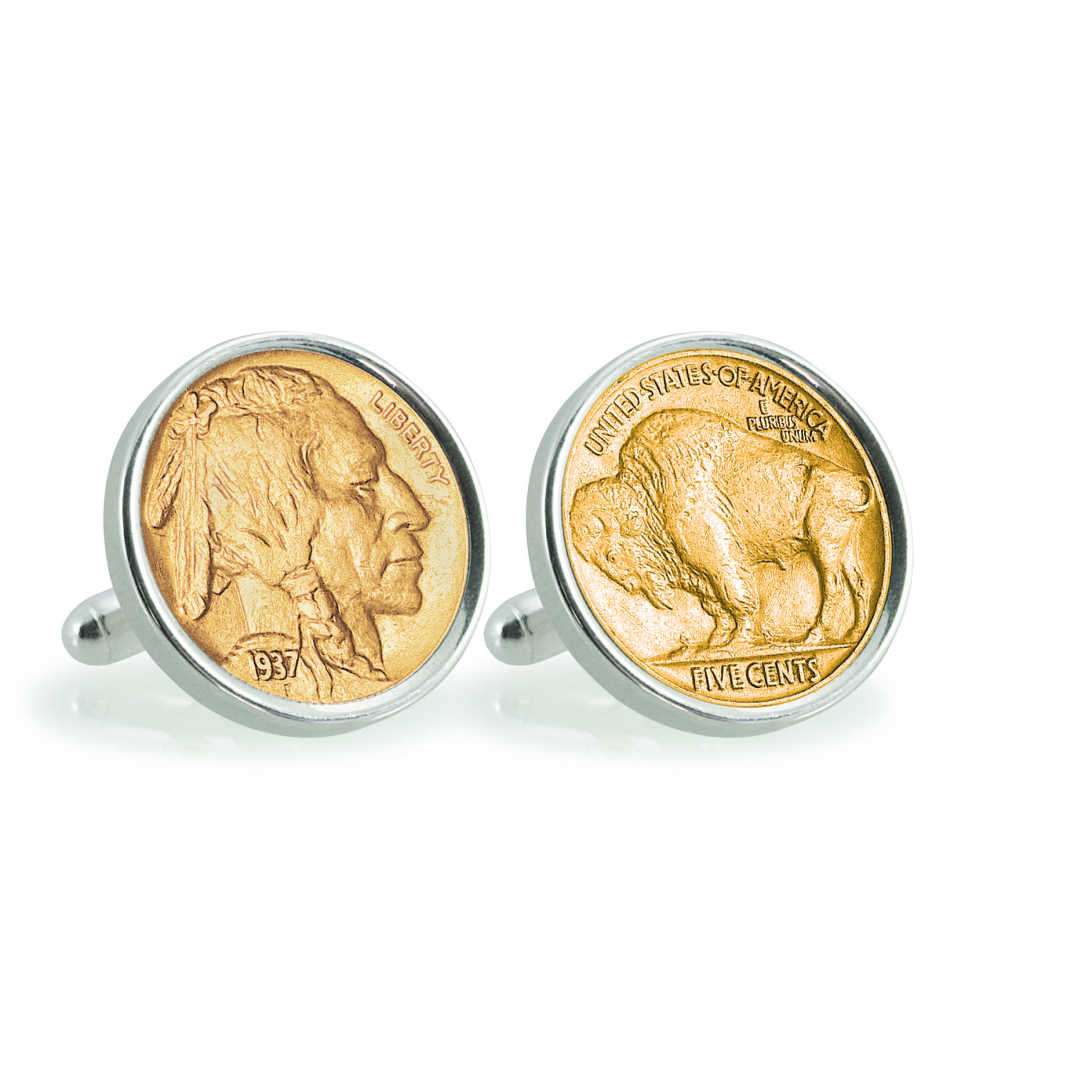 Gold-Layered Buffalo Nickel Sterling Silver Coin Cuff Links
