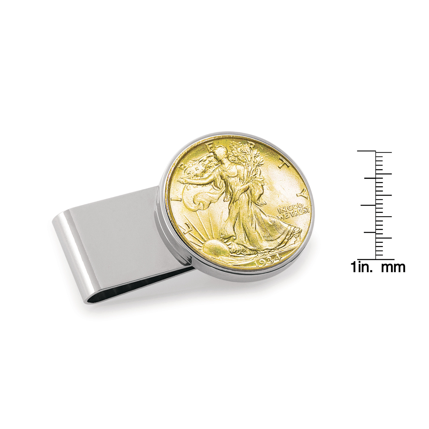 Gold-Layered Silver Walking Liberty Half Dollar Stainless Steel Silvertone Coin Money Clip