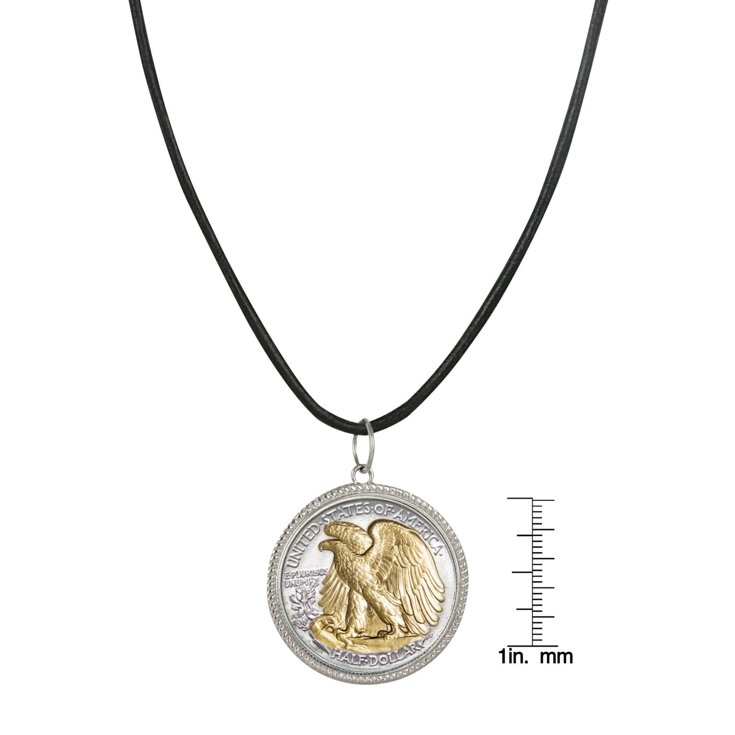 Walking Liberty Silver Half Dollar Pendant With Leather Cord - Reverse 2 Tone Plating