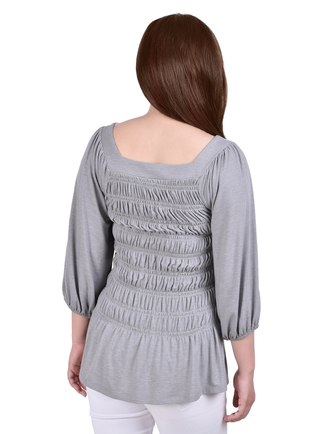 3/4 Balloon Sleeve Blouse With Smocked Body