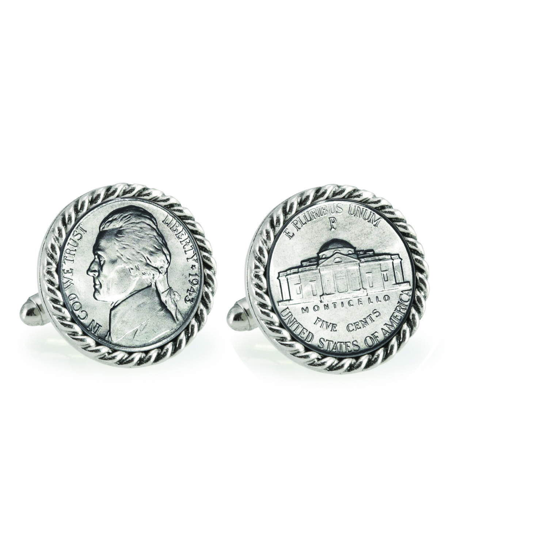 Silver Jefferson Nickel Wartime Nickel Silvertone Rope Bezel Coin Cuff Links