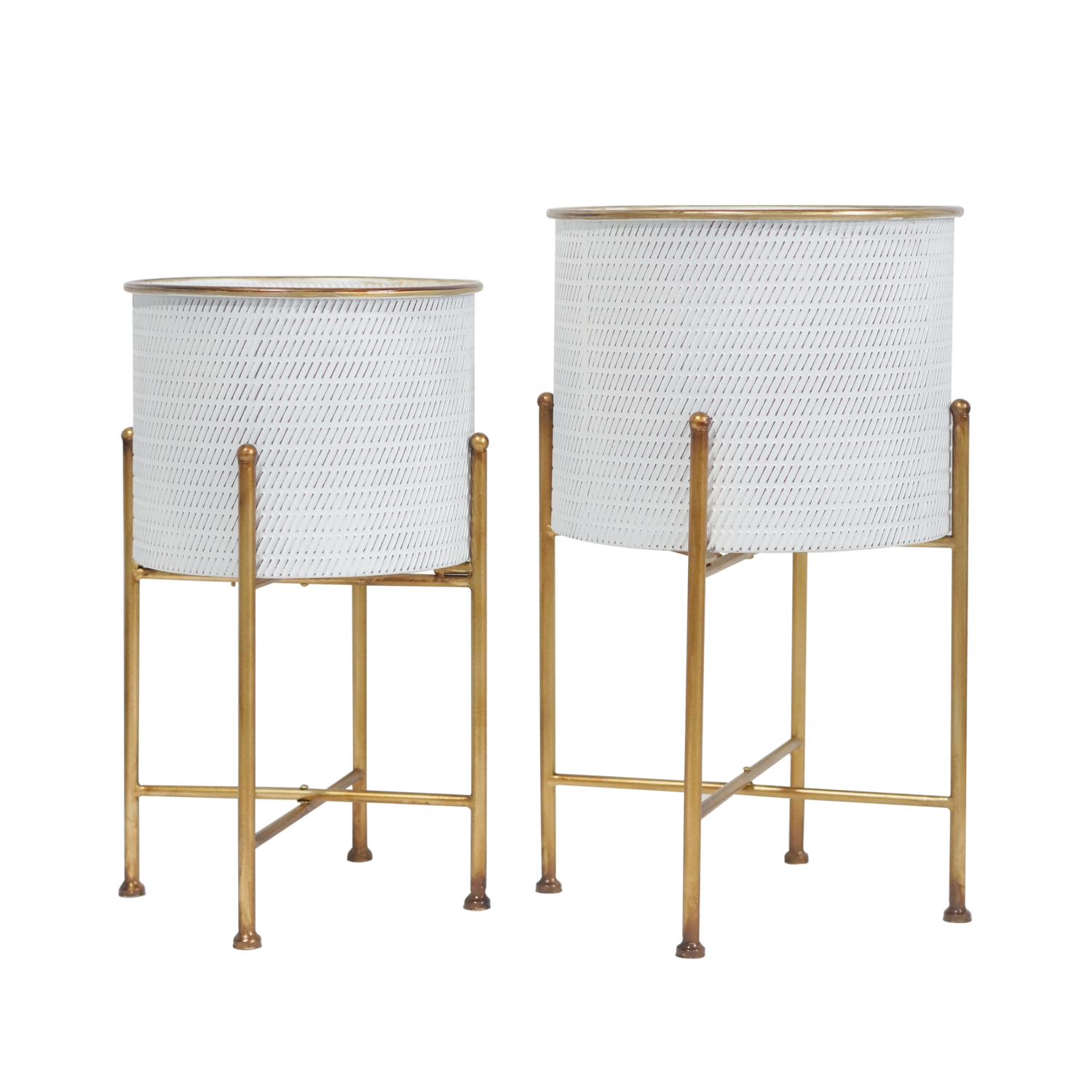 Embossed Metal Planters On Stand Set of 2