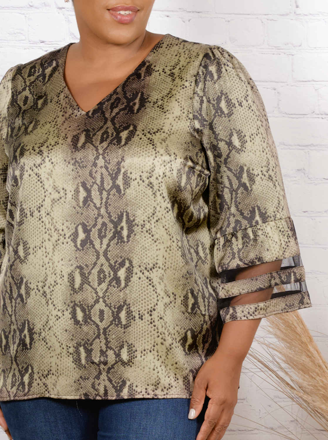 Wonder Blossom Night Out Top With Mesh Insert At Sleeve- Plus