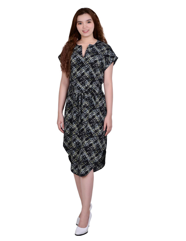 Short Sleeve Belted Split Neck Dress - Petite