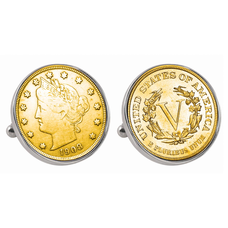 Gold-Layered Liberty Nickel Silvertone Bezel Coin Cufflinks
