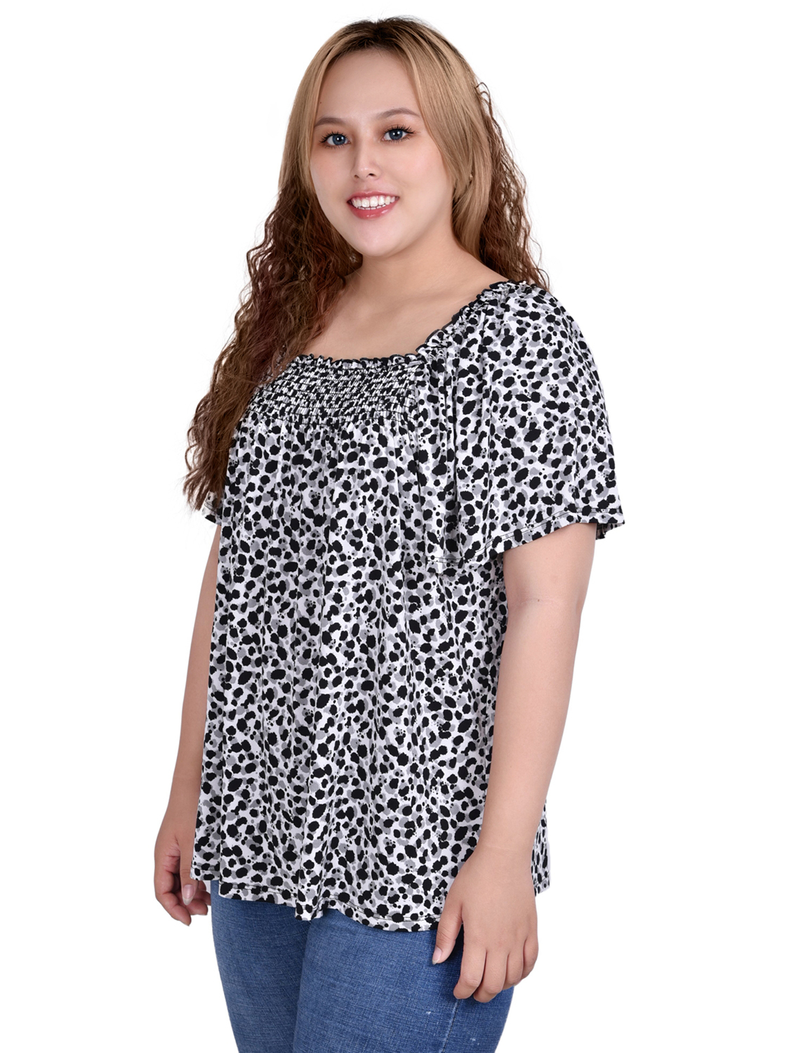 Short Sleeve Square Neck Crepe Top With Smocked Front