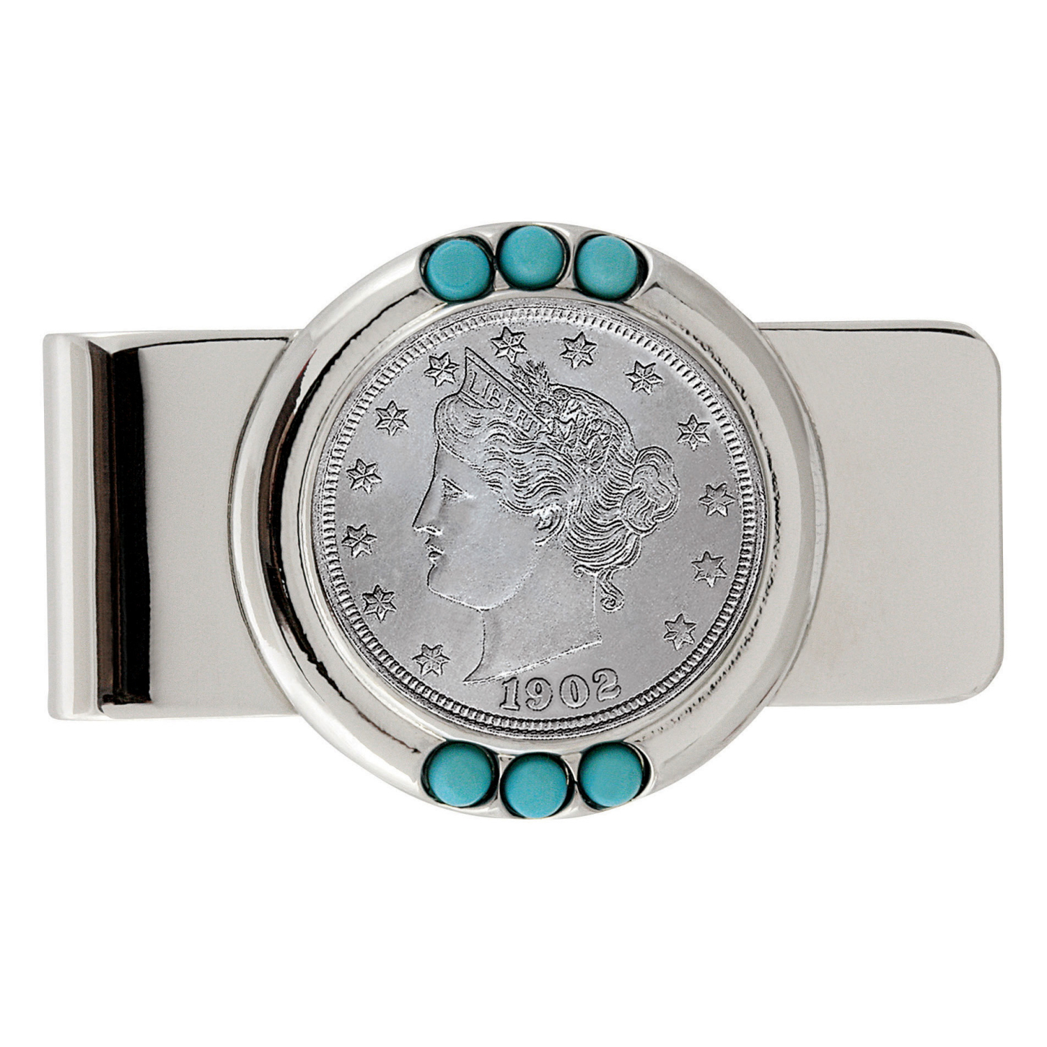 Liberty Nickel Turquoise Coin Money Clip