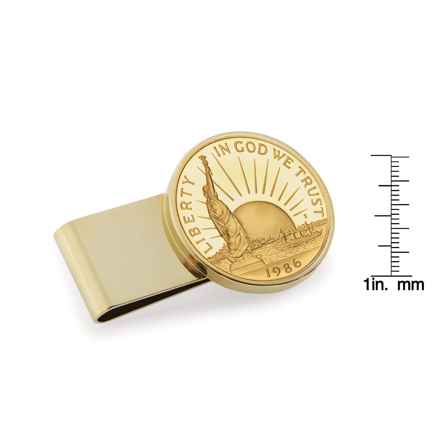 Gold-Layered Statue Of Liberty Commemorative Half Dollar Stainless Steel Gold Tone Coin Money Clip