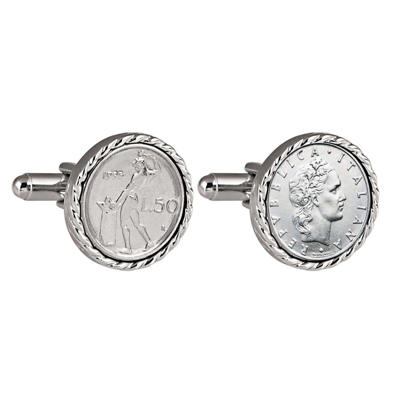 Italian 50 Lire Coin Silvertone Cufflinks
