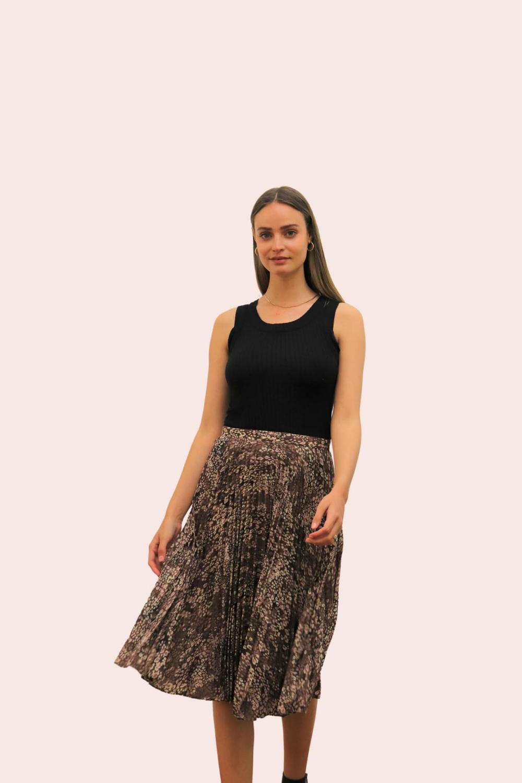 Amelia New Mocha Mica Brown Pleated Skirt