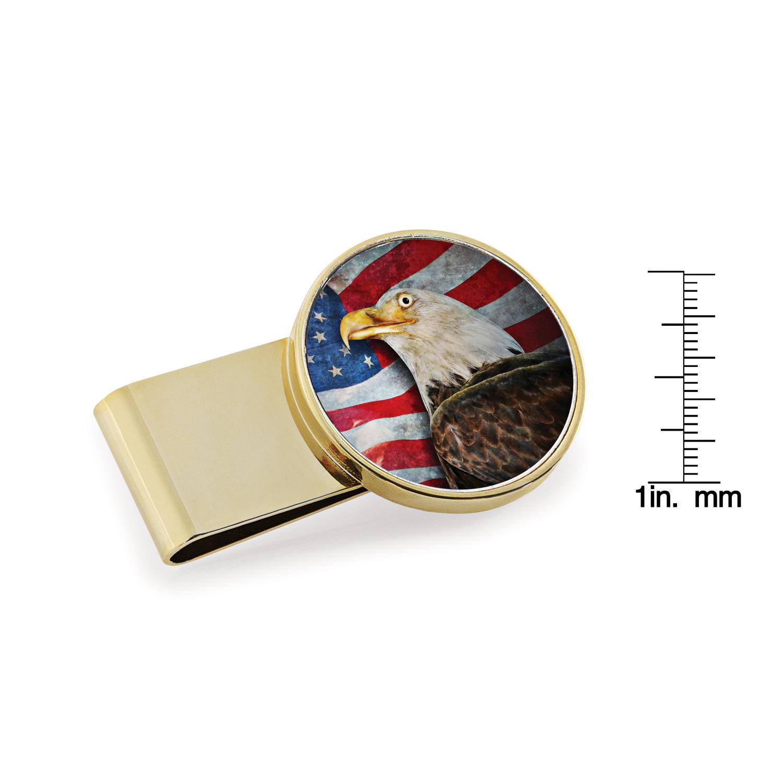 American Bald Eagle Colorized Jfk Half Dollar Stainless Steel Goldtone Money Clip