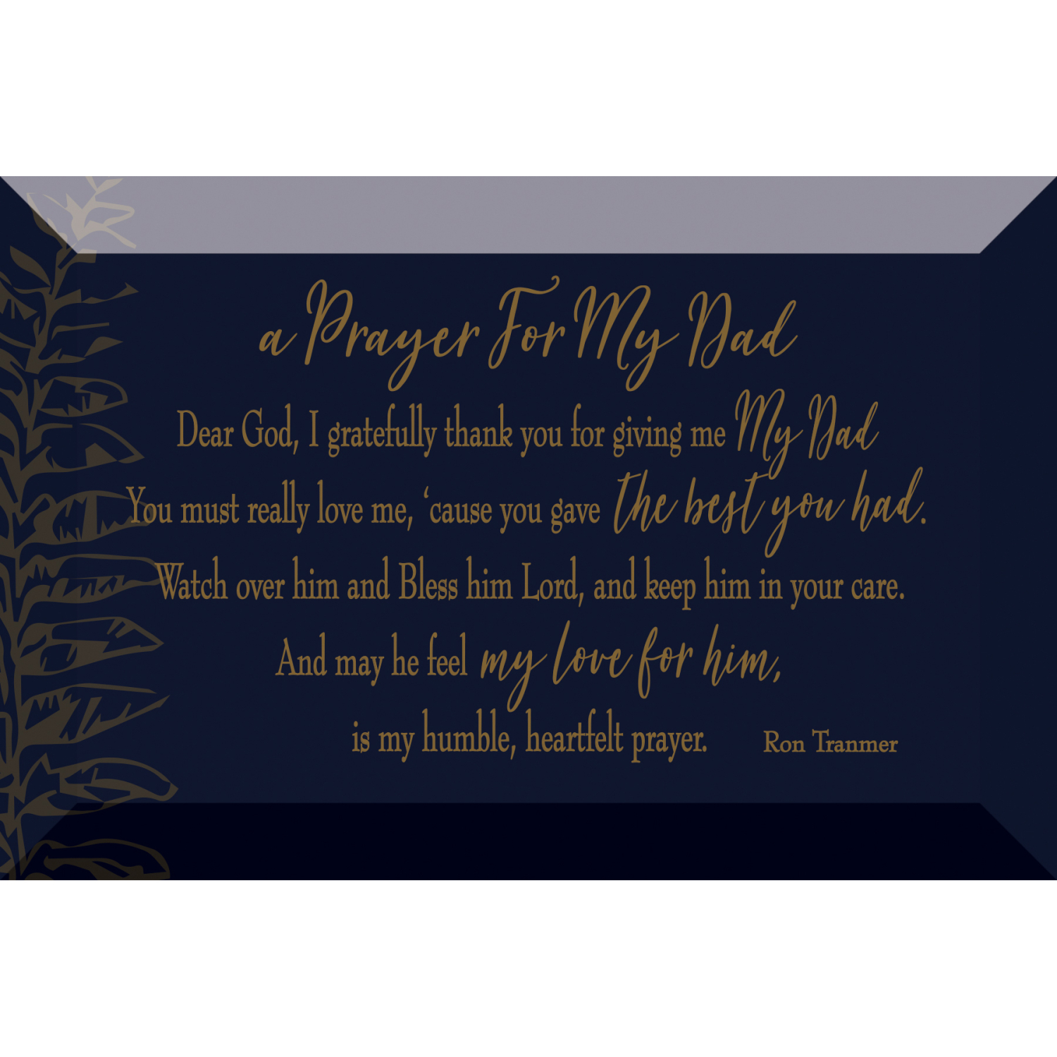 Prayer For My Dad Glass Plaque With Easel And Hanger 4 Inches X 6 Inches